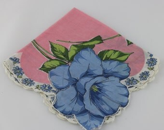 Vintage Floral Handkerchief, Flower Girl Handkerchief, Wedding Handkerchief, Blue Wedding, Blue Flowers, Vintage Wedding, Pink Handkerchief