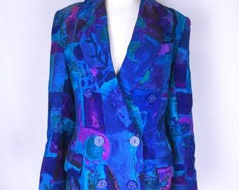 80's-90's JEAN-LOUIS SCHERRER Art Print Tailored Jacket Coat