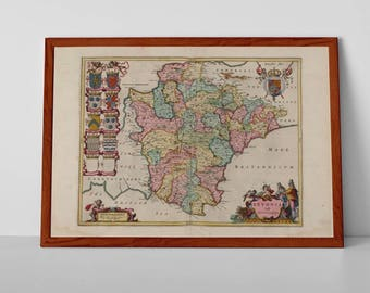 Antique Devon Map | Giclée Art Print | Old Map of England; Devonshire, Exeter, Torridge, Exmoor, South Hams, Teignbridge, Plymouth, Torbay