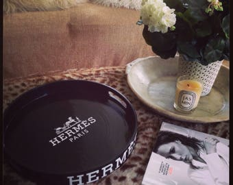 Round Black Hermes Paris Tray