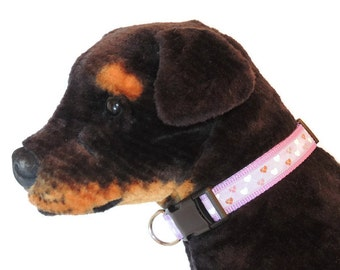 Large Lilac Country Hearts Dog Collar