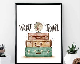 World Travel Print // Minimalist // Wall Art // Office DIY // Scandinavian // Modern Office // Fashion Poster // Travel // Modern