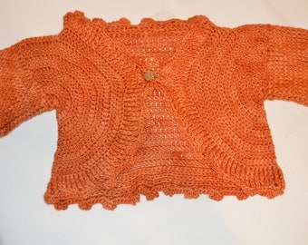 1 -2 Years Old Girls' Orange Cardigan
