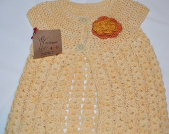 3 - 4 Years Old Girls' Yellow Cardigan