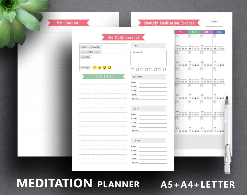 meditation planner printable  mindfulness journal