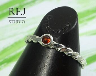 Natural Garnet Flat Braided Silver Ring, January Birthstone Ring, 2 mm Round Cut Red Genuine Garnet Flattened Rope Ring, Flat Twist Ring