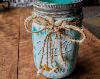 Seashell Mason Jar, shells, buttons, distressed, shabby chic, country, beach, beach decor, vase