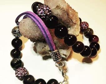 Amethyst & Suede Bracelet