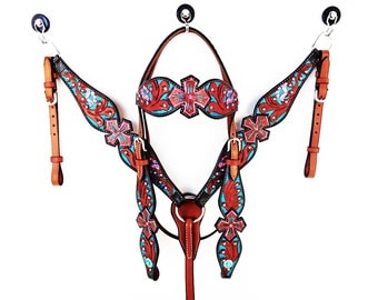 Hand Painted Leather Turquoise Cross western horse Bridle Headstall breast collar