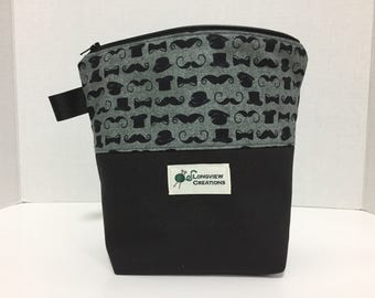 Wedge Bag, Knitting Project Bag, Sock Size, Mustaches