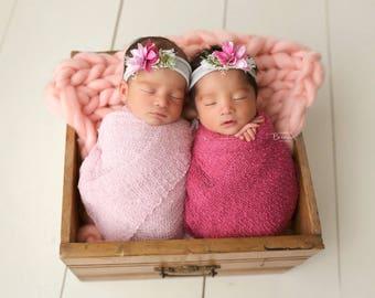 Tabatha Twin Set / Wraps / Headbands /Newborn Headband Prop / Flower Headband