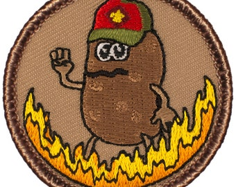 Flaming Potato Scout Patch (398A) 2 Inch Diameter Embroidered Patch