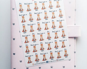 Fox Sake Stickers | Dont Give a Fox Stickers | Planner Stickers, Journal Stickers, Scrapbook, Bullet Journal