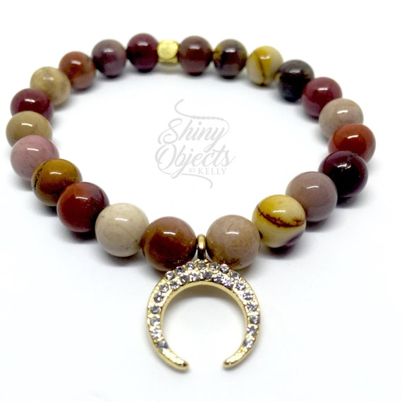 Mookaite Jasper Stretch Bangle with Gold Pave Crescent Moon Charm