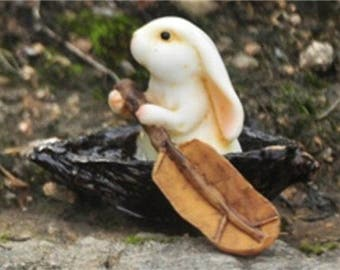 Miniature Dollhouse FAIRY GARDEN ~ Little Bunny Rowing Leaf Boat Brown ~ NEW