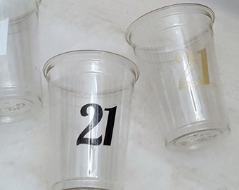 Party glasses-21st birthday party-party cups-birthday-drinking glasses