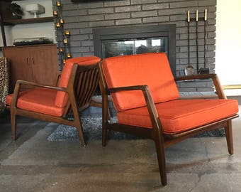 Pair of lb Kofod Larsen for Selig Lounge Chairs