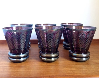 Amethyst Cordial Glasses with Silver Overlay, Bohemian, Art Nouveau
