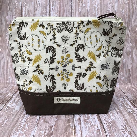 Zippered Knitting Bag : Zippered knitting project bag crochet makeup