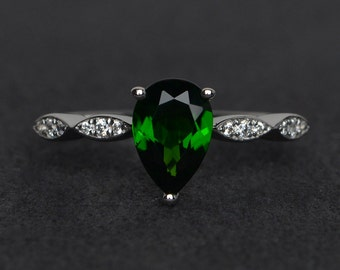 natural diopside ring silver chrome diopside engagement rings pear cut diopside rings green gemstone