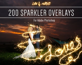 Sparkler Photoshop Overlays, Alphabet, Numbers, Punctuation & Swirls Professional Photo Editing by LouMarksPhoto