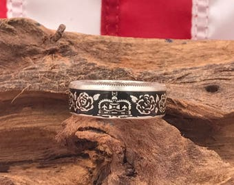 Queen Elizabeth 90th Birthday Coin Ring/Silver Coin Ring/Coin Rings/Coin Jewelry/US Coin Rings/Wedding Band/Gifts for Her/Handmade/The Queen