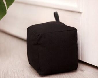 Doorstop|Fabric doorstop|Black doorstop|Cube doorstop|Home decor|Family gift|Housewarming gift