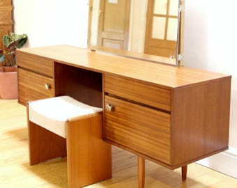 Danish Style Mid Century Teak Dressing Table with Mirror by Avalon