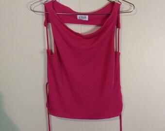 Hot pink open back tie up top