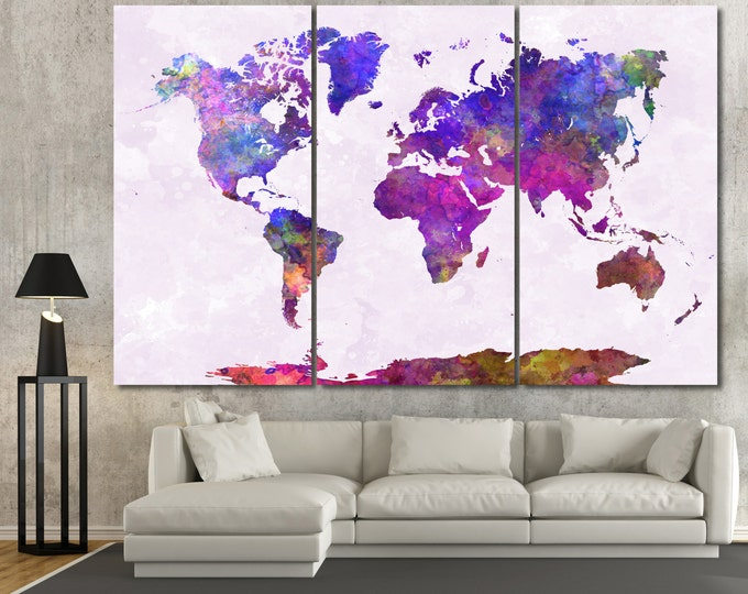 15 off coupon on large colorful watercolor world map poster canvas large colorful watercolor world map poster canvas set map wall art 12 gumiabroncs Choice Image