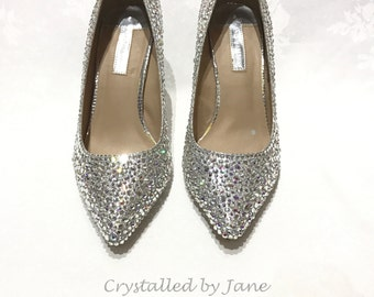 Bespoke Cinderella Bridal Prom Shoes Heels Pumps - Fully Strassed in Swarovski crystals - send us your shoes