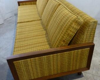 Midcentury Modern Harvest Yellow Walnut 7' Couch MCM Madmen