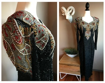 Stunning Vintage 1980s Art Deco Revival Beaded Gown // Vintage Beaded Dress // 1980s Beaded Long Dress // Sequin Evening Gown