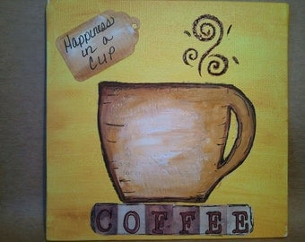 Happiness In A Cup, Original Mixed Media on Canvas Board, Coffee Art, Kitchen Art, Comporary Art, Modern Art