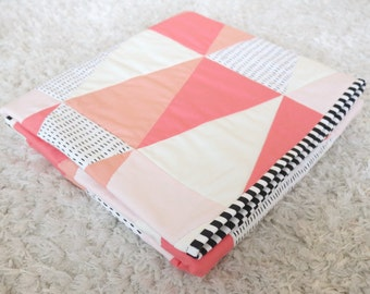 "Modern Baby Quilt - Baby Quilt - Triangle Quilt - Triangle Baby Quilt- The ""Hannah"" - Coral Baby Quilt - Pink Baby Quilt - Baby Blanket"