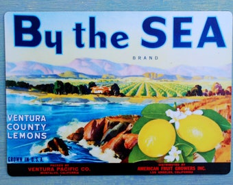Kitchen Magnet - Vintage 1930's California Citrus Crate Label - Ventura County Lemons - By the Sea