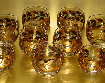 Mid Century Gold Leaf Roly Poly Glasses (9) Assorted Sizes, Retro Bar Classic