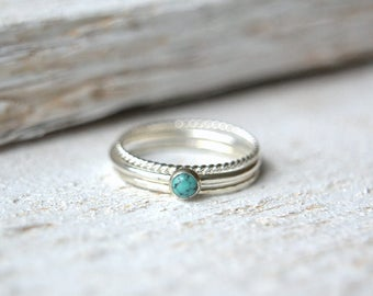 Sterling Silver Turquoise Ring. Turquoise Ring Set. Natural Turquoise Ring, Stackable Ring, Small Gemstone Ring, Stacking Rings, Dainty Ring