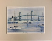 Newport Bridge, Rhode Island. Ocean Art. Ocean Print. Coastal Art. Coastal Artwork. Artwork of Boats. Coastal Wall Art.
