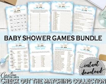 Little Lamb Baby Shower Games Sheep, Printable Games Bundle Sheep Blue Theme, 8 games pack, Farm Baby Shower Games, Cheap Games - fa001
