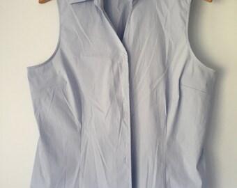 Vintage 90s Fred David Cotton Light Blue Sleeveless Shirt Blouse Size XL