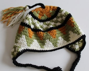 Ladies handmade crocheted Inca-Style hat with earflaps, fun beanie, present for sister, gift for female friend, winter wear, winter fashion