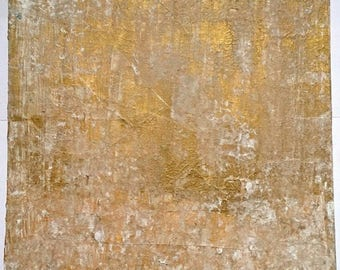 Abstract Acrylic Gold and White Painting Original Art on Canvas 10'' x 12'' Textured Metallic Art / Little Art London by Dee
