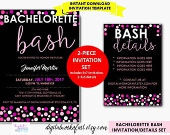 Bachelorette Party Invitation Template, Bachelorette Party Invite, Bachelorette Bash, Ladies Night, Digital Instant Download PDF,  Polka Dot