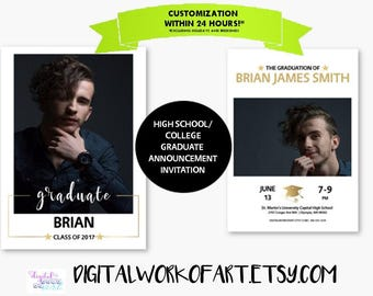 Graduation Invitation, Graduation Announcement, College High School, Senior Announcement, Invitation, Photo Grad, Graduate, Class of, Custom
