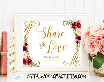 Share the Love Sign,Wedding Hashtag Sign,DIY Rustic Wedding Reception Sign Printable,Editable PDF Template, floral,boho,Instant Download,#LC