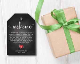 Wedding Welcome Tag, Wedding Favor, Welcome Tag,  Chalkboard Wedding Tag, Editable PDF, DIY, Printable Template, Instant Download E88C
