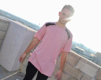 Mens pink baseball lace tee