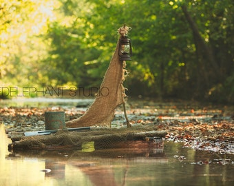 Outdoor Creek with Wood Boat Digital Backdrop / Digital Background