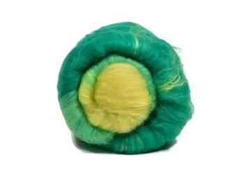 Carded Spinning Batt, Spinning Fiber, Merino, Bamboo, Angelina - Carnation - 4 oz.